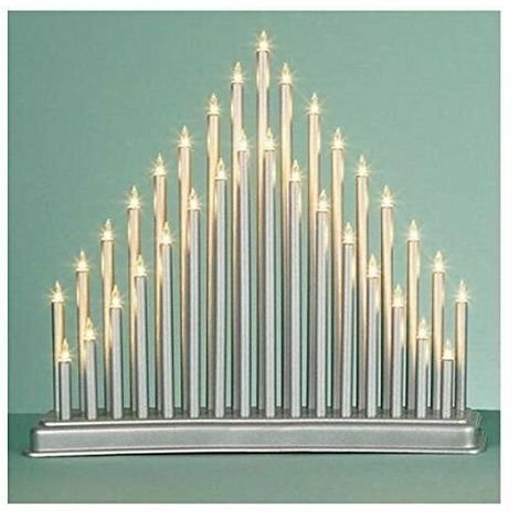 36cm Xmas 33 LED Indoor SILVER Modern CANDLE ARCH / CANDLELIER/ bridge Tower