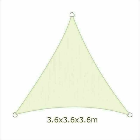 3.6m Sun Sail Shade Triangle Awning Canopy Garden Sun Patio Sunscreen - Ivory