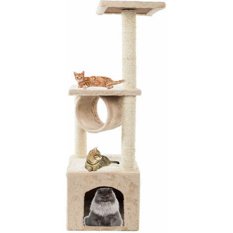 "36""Solid Cute Sisal Rope Plush Cat Climb Tree Cat Tower Beige"