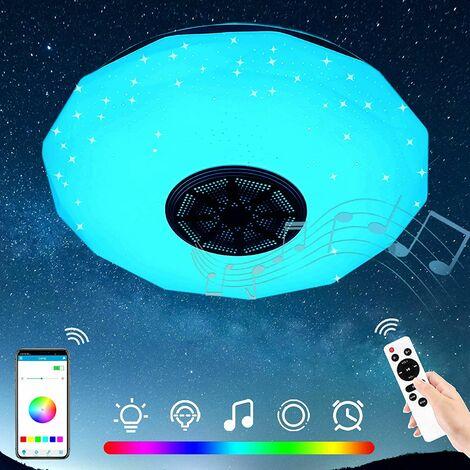 36W Rond Musique Plafonnier LED, Moderne Lampe De Plafond Bluetooth avec Haut-Parleur, APP & Télécommande, Salon Chambre Couloir Hôtel Restaurant Lumières Décoratives | Ø29cm