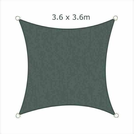 3.6x3.6m Sun Sail Shade Square Awning Canopy Garden Sun Patio Sunscreen - Charcoal