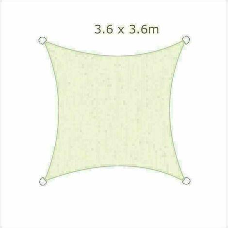 3.6x3.6m Sun Sail Shade Square Awning Canopy Garden Sun Patio Sunscreen - Ivory