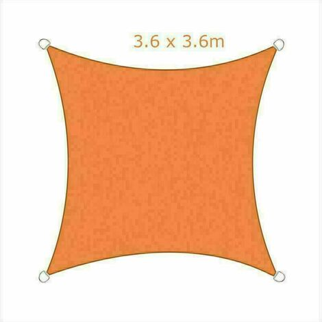 3.6x3.6m Sun Sail Shade Square Awning Canopy Garden Sun Patio Sunscreen - Orange