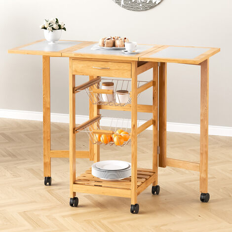 37cm Expandable to 90cm Kitchen Trolley Cart Basket Storage Drawer Wood Portable
