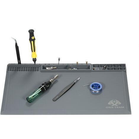 380 * 210 mm del aislamiento de calor del cojin del silicon para la plataforma de mantenimiento de soldadura BGA Reparacion Estacion de soldadura de alta temperatura Mat con tornillos de muescas, gris