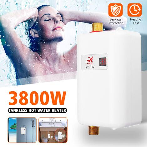 3800W 220V Calentador de agua eléctrico termostático instantáneo para el hogar MINI Bomba de calor Calentador de agua para baño de cocina con bomba (Blanco, Enchufe de la UE 220V 3800W)