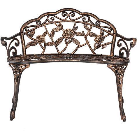 "main image of ""38.5"" outdoor metal leisure bench wrought iron garden bench patio furniture decoration park rose chair Bronze - Bronze"""