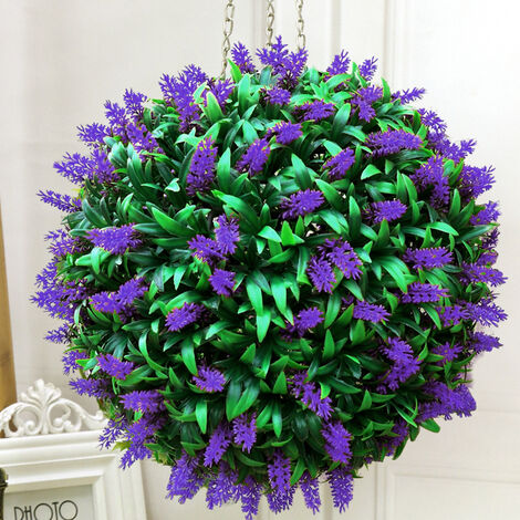 38CM Artificial Lavender Flowers Ball Grass Hanging Flower Topiary Ball Wall Decoration, Purple&Green