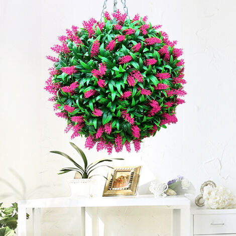 38CM Artificial Lavender Flowers Ball Grass Hanging Flower Topiary Ball Wall Decoration, Red&Green