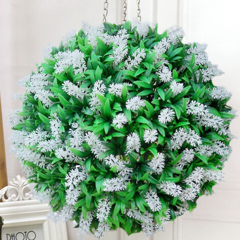 38CM Artificial Lavender Flowers Ball Grass Hanging Flower Topiary Ball Wall Decoration, White&Green