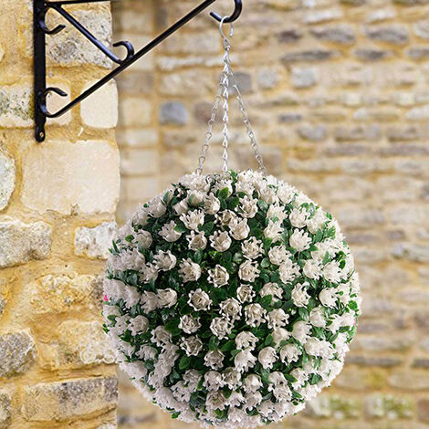 38CM Artificial Rose Topiary Flower Ball Hanging Outdoor