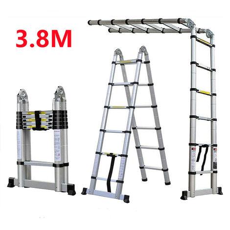 3.8M Échelle Télescopique Portative Pliante en Aluminium à Usage Multiple avec Charnières, EN131 Certifiée, 330lb Capacité