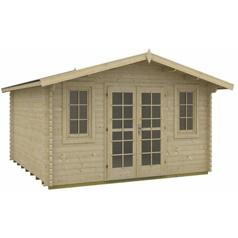 3.8m x 3.8m Budget Apex Log Cabin (214) - Double Glazing (40mm Wall Thickness)