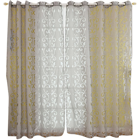 """main image of """"39 * 98 inches Polyester Semi-Blackout Grommet Top Window Curtain Panel Living Room Bedroom Hotel Voile Curtain Drape--Grey,model:Grey"""""""