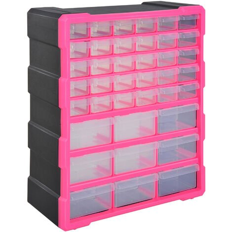 39 Drawers Parts Organiser Wall Mount Storage Cabinet Tools DURHAND - Rose Red