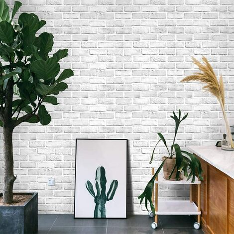 """main image of """"393 ×18 Gray White3D Brick Contact Paper Self Adhesive Stick and Peel Paper Stick Paper Brick Wallpaper Roll Peel Stick Textured White Gray Brick Wallpaper Brick Removable Wallpaper Vinyl Film"""""""