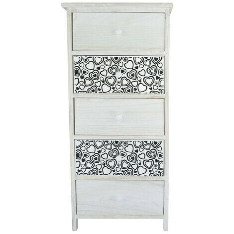398007 Mueble madera blanca tirador y dibujos de corazones 5 cajones 40x29xH90cm