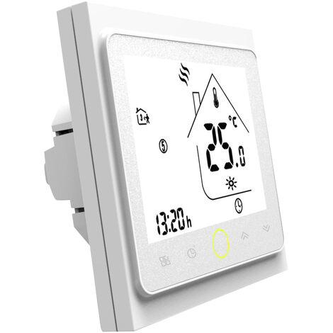 3A Eau / Gaz Chaudiere de chauffage Thermostat avec ecran LCD tactile d'economie d'energie thermostat intelligent controleur de temperature, blanc
