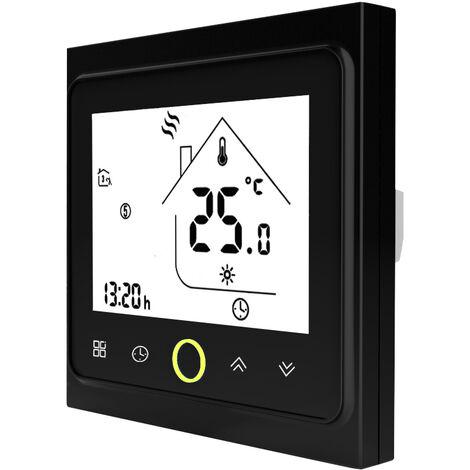 3A Eau / Gaz Chaudiere de chauffage Thermostat avec ecran LCD tactile d'economie d'energie thermostat intelligent controleur de temperature, noir