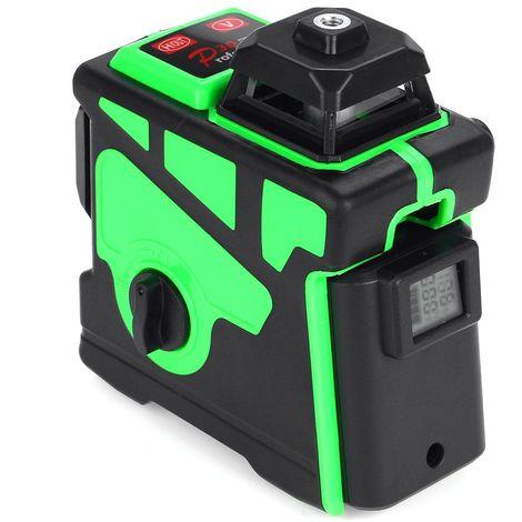 3D 12 Ligne Niveau laser Lumière verte Mise à niveau automatique numérique Mesure rotative à 360°
