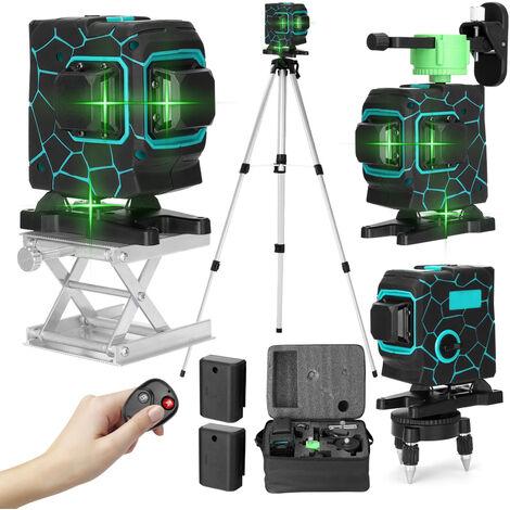 3D 12 Lignes Laser Verticales Niveau Outil Lignes Horizontales Avec 3 ¡ã Autonivelant Fonction Avec 1,5M 3-Heights Reglable Bar Extension En Alliage