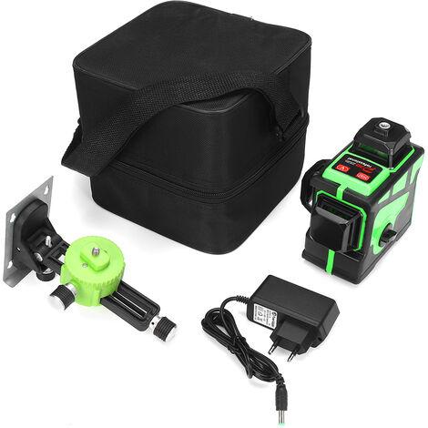 3D 12 lignes lumière verte niveau laser nivellement automatique numérique mesure rotative à 360 ° réglementations européennes (Accessoire non inclus)