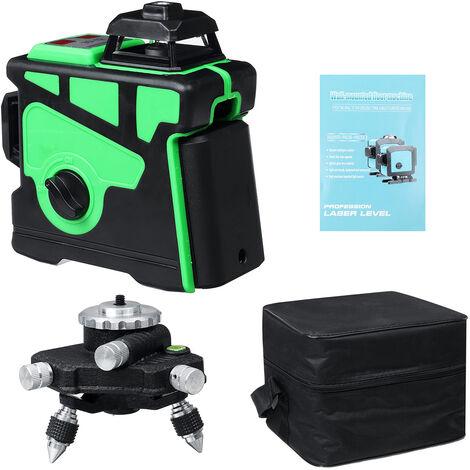 3D 12 Line 360 LD Green Light Laser Level Cross Self Leveling Measure Tool Green UK Charger