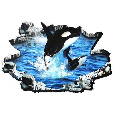 3D acrílico arte decoración ballena saltando etiqueta de la pared puerta piso calcomanía casa LAVENTE