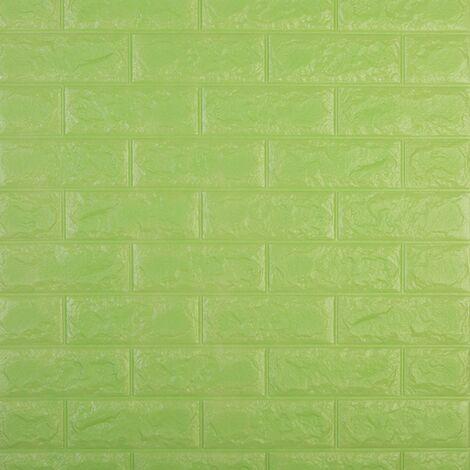 3D autocollants muraux en trois dimensions protection de l'environnement motif de brique papier peint maternelle salon anti-collision jupe murale auto-adhesive etanche, 60x30CM 3 # (vert pomme)