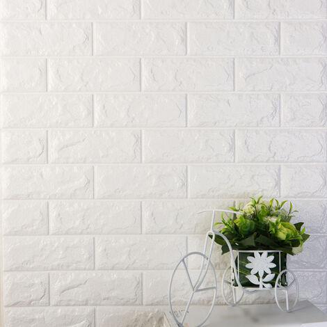 3D autocollants muraux en trois dimensions protection de l'environnement motif de brique papier peint maternelle salon anti-collision jupe murale auto-adhesive etanche, 60x30CM 6 # (blanc)
