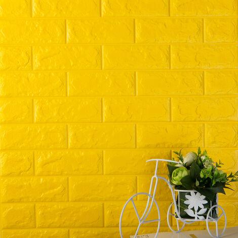 3D autocollants muraux en trois dimensions protection de l'environnement motif de brique papier peint maternelle salon collision jupe murale auto-adhesive etanche, 60x30CM 4 # (jaune)