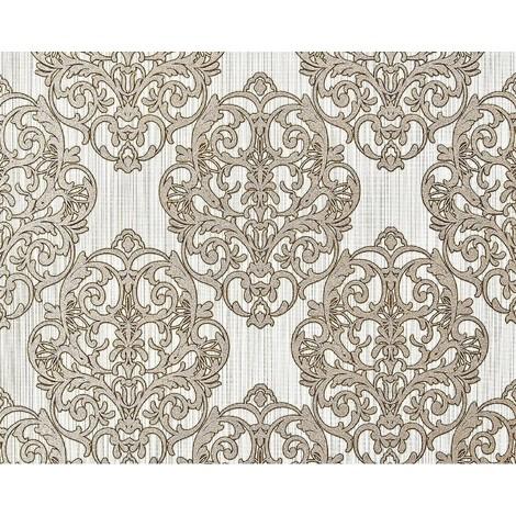 3D baroque paste the wall wallpaper XXL EDEM 648-95 textured nonwoven magnificent damask pattern light brown off-white bronze glitter 10.65 m2