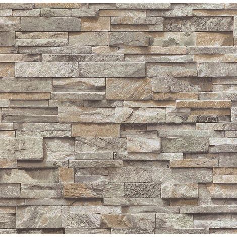 3D Beige Grey Slate Stone Wallpaper Sandstone Brick Effect Rustic Textured