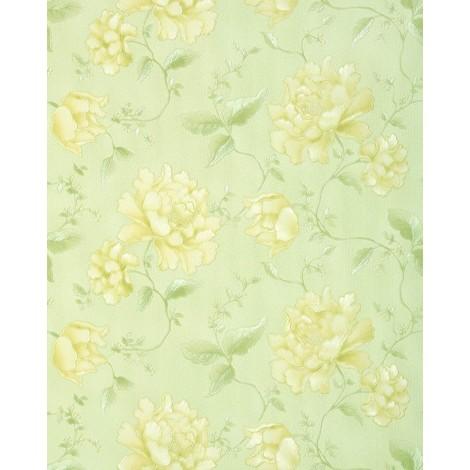 3D Blumentapete EDEM 748-38 Luxus Floral Landhaus Tapete Blumen hochwertige Prägequalität gelb hell-grün zitronengelb