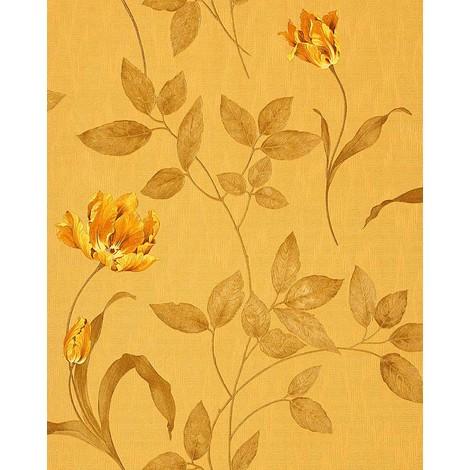 3D Blumentapete Floral Tapete EDEM 769-32 Hochwertige geprägte Blumen Luxus Textil Optik Ocker-gelb goldgelb olive