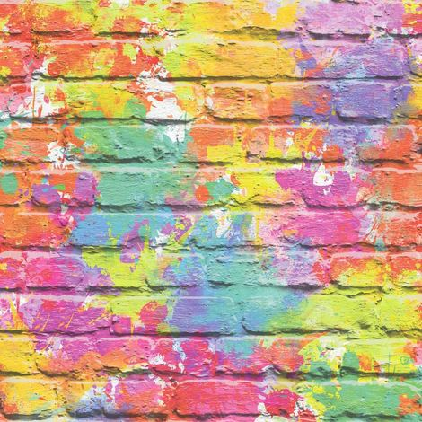 3D Brick Effect Wallpaper Multicoloured Paint Splash Slates Stone Rustic Painted