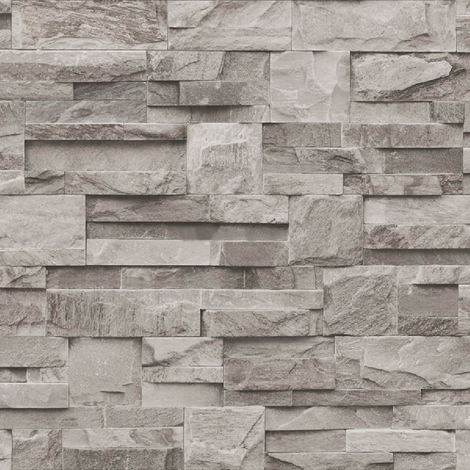 3D Brick Effect Wallpaper Paste The Wall Textured Vinyl Slate Stone Faux Grey