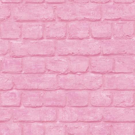 3D Brick Effect Wallpaper Pink Urban Embossed Textured Industrial Metallic