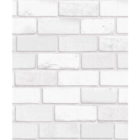 3D Brick Effect Wallpaper White Glitter Shimmer Vinyl Textured Kitchen Arthouse