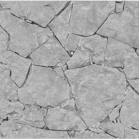 3D Brick Stone Slate Wallpaper Realistic Rocks Embossed Grey Black Weathered P+S