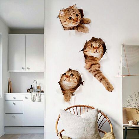 3D Cat Wall Hole Sticker Art Decals DIY Home Room Decoration