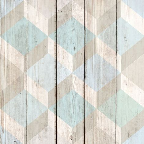 3D Cube Wood Effect Geometric Wallpaper Wooden Panel Plank Board Copenhagen Blue