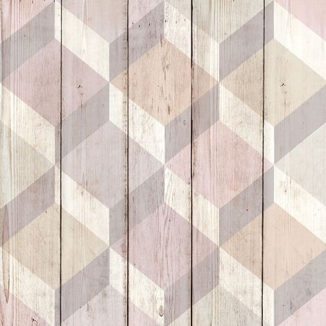 3D Cube Wood Effect Geometric Wallpaper Wooden Panel Plank Board Copenhagen Pink