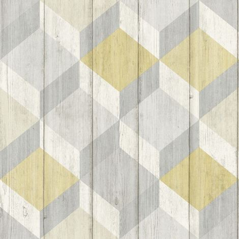 3D Cube Wood Effect Geometric Wallpaper Wooden Panel Plank Copenhagen Yellow