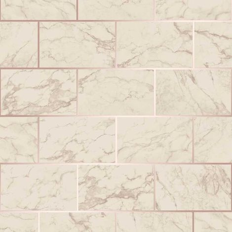 3D Effect Brick Tile Wallpaper Cream Grey Marble Rose Gold Metallic Vinyl Crown