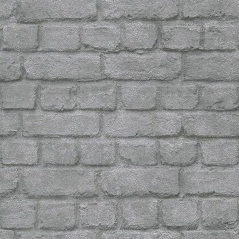 3D Effect Brick Wall Stone Optic Wallpaper Silver Chrome Metallic Shimmer Rasch
