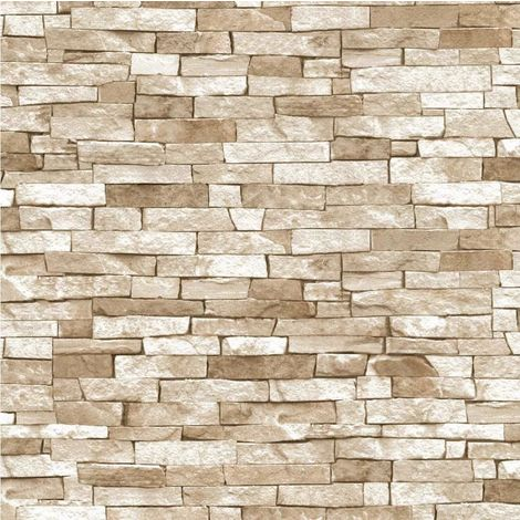 3D Effect Brick Wallpaper Beige Natural Stone Slate Rustic Weathered Texture P+S