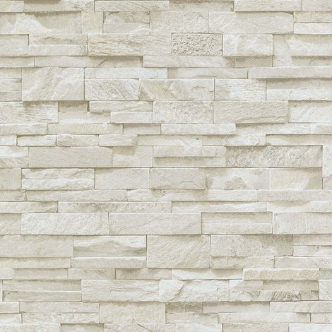3D Effect Brick Wallpaper Beige Stone Tile Rustic Vinyl Paste Wall Erismann