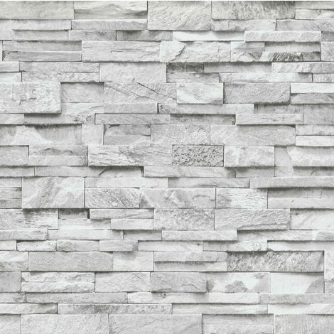 3D Effect Brick Wallpaper Grey White Stone Tile Rustic Vinyl Paste Wall Erismann