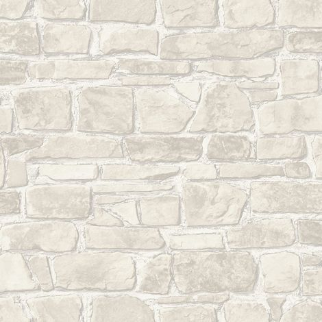 3D Effect Brick Wallpaper White Silver Metallic Rustic Stone Wall Textured Rasch